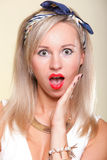 Beautiful sexy woman blonde Surprised housewife Stock Photo