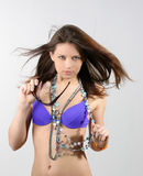 Beautiful sexy woman in blue bikini.  Royalty Free Stock Photography