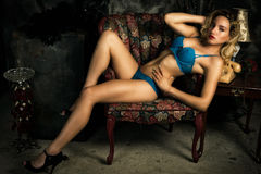 Beautiful, Sexy Woman in Blue Lingerie Royalty Free Stock Photos