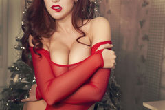 Beautiful sexy woman body in transperent clothes, red lipstick and curly hair. New year. Unrecognizable, faceless Royalty Free Stock Image