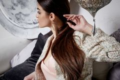 Beautiful sexy woman brunette hair east style arabic morocco Royalty Free Stock Images