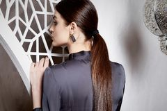Beautiful woman brunette hair east style arabic morocco Royalty Free Stock Photos