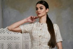 Beautiful sexy woman brunette hair east style arabic Stock Photo