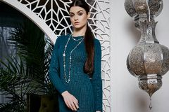 Beautiful woman brunette hair east style arabic morocco Royalty Free Stock Image