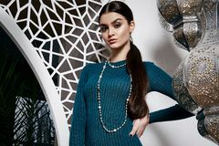 Beautiful sexy woman brunette hair east style arabic morocco Stock Images