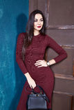 Beautiful sexy woman brunette hair wear fashion Royalty Free Stock Photography