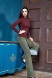 Beautiful sexy woman brunette hair wear wool Stock Image