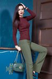 Beautiful sexy woman brunette hair wear wool sweater Royalty Free Stock Photos