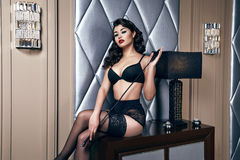 Beautiful sexy woman brunette in lace lingerie makeup body shape Royalty Free Stock Photography