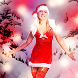 Beautiful sexy woman in christmas or santa look Stock Image