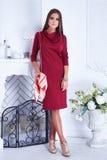 Beautiful woman clothing catalog stylish fashion red dress stock photography