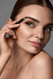 Beautiful Sexy Woman Contouring Eyebrows. Glamorous Makeup. Makeup Cosmetics. Closeup Of Beautiful Sexy Girl Using Professional Cosmetic Pencil. Portrait Of Royalty Free Stock Photos