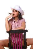 Beautiful sexy woman cowgirl on white Royalty Free Stock Photography