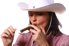 Beautiful sexy woman cowgirl on white Stock Images