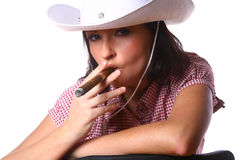 Beautiful sexy woman cowgirl on white Stock Photos