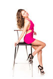 Beautiful sexy woman dancing with bar chair Stock Image