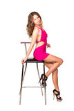 Beautiful sexy woman dancing with bar chair Royalty Free Stock Photography
