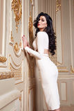 Beautiful sexy woman in elegant dress fashionable autumn Collection of spring long brunette hair makeup tanned slim body figure ac Royalty Free Stock Images