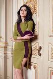 Beautiful woman in elegant dress fashionable autumn Collection of spring long brunette hair makeup tanned slim body figure ac. Cessories interior luxury castle stock images