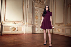 Beautiful sexy woman in elegant dress fashionable autumn Collection of spring long brunette hair makeup tanned slim body figure ac. Cessories interior luxury Stock Images