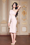 Beautiful sexy woman in elegant dress fashionable autumn Collection of spring long brunette hair makeup tanned slim body figure ac Royalty Free Stock Photography