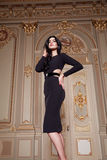 Beautiful woman in elegant dress fashionable autumn Collection of spring long brunette hair makeup tanned slim body figure ac. Cessories interior luxury castle stock image