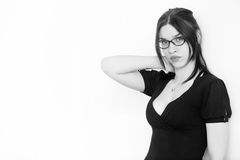 Beautiful sexy woman in eyeglasses with black suit Stock Images
