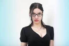 Beautiful sexy woman in eyeglasses with black suit Royalty Free Stock Photo