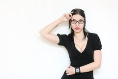 Beautiful sexy woman in eyeglasses with black suit Stock Photos