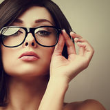 Beautiful sexy woman in fashion glasses Stock Photography