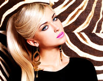 Beautiful woman with fashion makeup on face Stock Photography