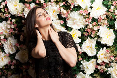 Beautiful woman on flower wallpaper background in studio ph. Oto. Beauty concept. Floral decoration royalty free stock photos