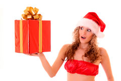 Beautiful sexy woman with gift Stock Photos