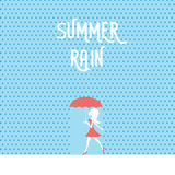 Beautiful sexy woman or girl in red dress, shoes and umbrella walking in summer rain with raindrops around. Seasonal Stock Photography