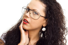 Beautiful woman in glasses isolated Stock Image
