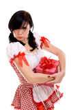Beautiful sexy woman holding a gift Stock Image