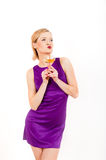 Beautiful sexy woman holding glass of champagne Stock Photos