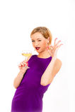 Beautiful sexy woman holding glass of champagne Stock Photo