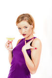 Beautiful sexy woman holding glass of champagne Stock Images