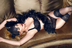 Beautiful sexy woman in lace lingerie perfect body shape Stock Photography