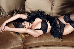 Beautiful sexy woman in lace lingerie perfect body shape Stock Photo