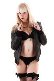 Beautiful sexy woman in leather jacket Royalty Free Stock Photos
