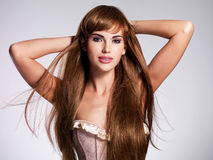 Beautiful sexy woman with long  hair Stock Images