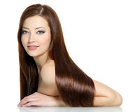 Beautiful woman with long hairs Stock Photography