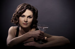 Beautiful sexy woman with a martini glass Royalty Free Stock Photo