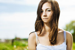 Beautiful woman on the nature Stock Photography