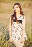 Beautiful woman on the nature stock photo