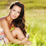 Beautiful woman on the nature royalty free stock images