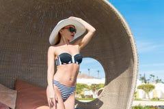 Beautiful sexy woman near pool Royalty Free Stock Photo