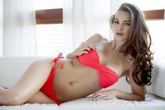 Beautiful and sexy woman in red bikini Stock Image